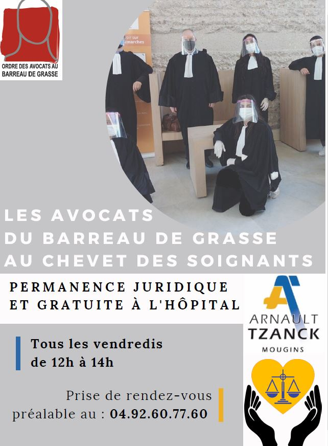 """ANTIBES """"Solidarité du Barreau de Grasse et du CDAD avec le personnel soignant"""" """"Les avocats du Barreau de Grasse au chevet du personnel soignant"""""""